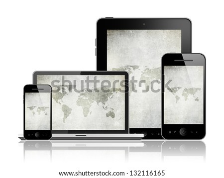 Notebook, tablet pc and mobile phones - stock photo