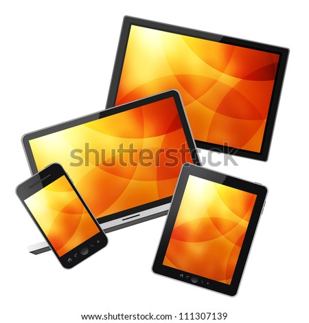 Notebook, tablet pc, mobile phone and HD TV isolated on white background