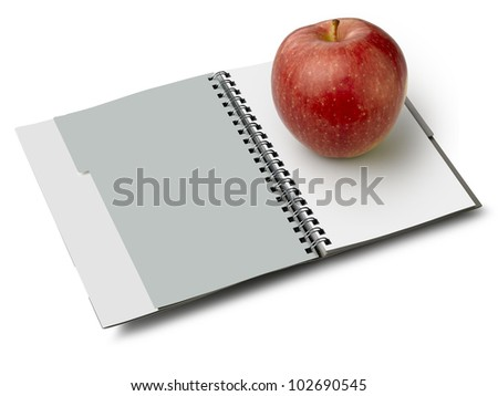 Notebook to spirale.Il is a path for all, and 2 paths to the pages. You can easily change the color pages - stock photo