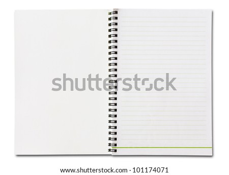 Notebook vertical single white page Isolated - stock photo