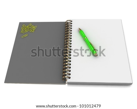 Notebook with a spiral, a handful of paper clips and a green pen on a white background - stock photo