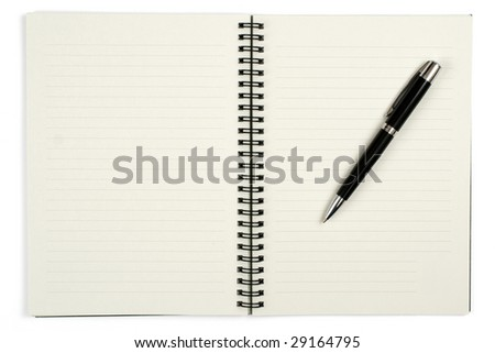 notebook with black pen isolated on white - stock photo