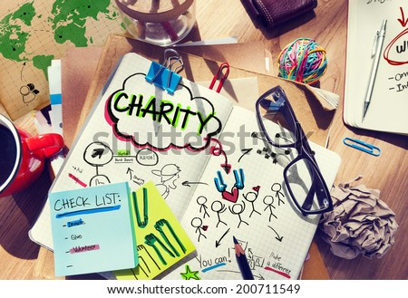 Notebook with Charity Concepts - stock photo