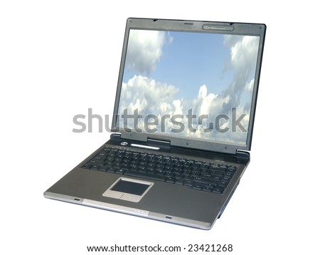 Notebook with clouds on screen, isolated with clipping path