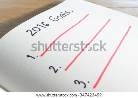 Notebook with goals of year 2016