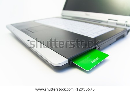 notebook with green access card - stock photo
