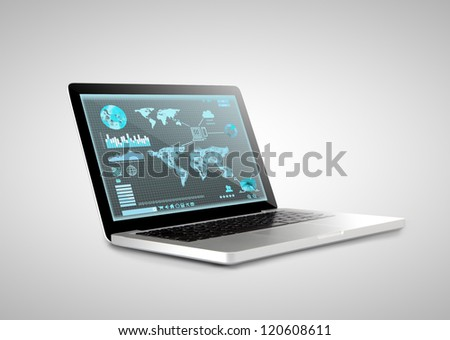 notebook with  interface on screen