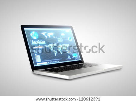 notebook with  interface screen on white background - stock photo