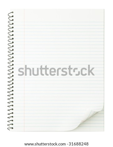 Notebook with nice page curl and no shadow for easy manipulation. isolated on pure white. - stock photo