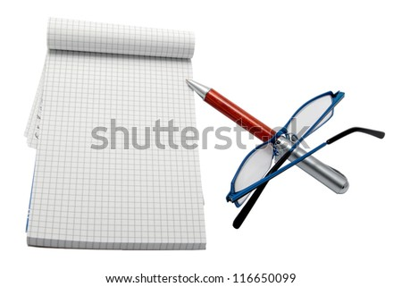 notebook with pen and glasses cut work path - stock photo
