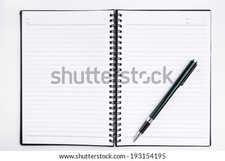 notebook with pen  on white