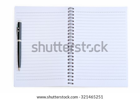 Notebook with pen on white background.