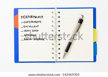 Notebook with performance checklist  isolated on white background