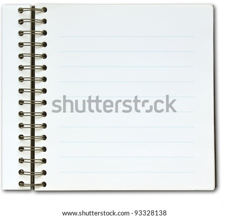notebook with ring holder on white background