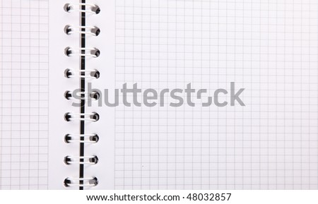 Notebook with rings and quartered, Empty to insert text or design - stock photo