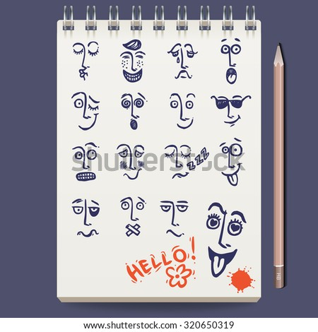 Notebook with sketch faces characters and emoticons and pencil  illustration - stock photo