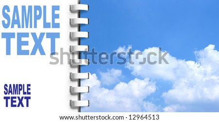 Notebook with space for text on left and sky on next page (Go on leave tomorrow!) - stock photo