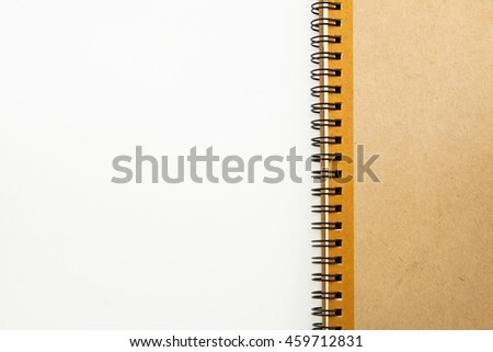 Notebook with space on white background.