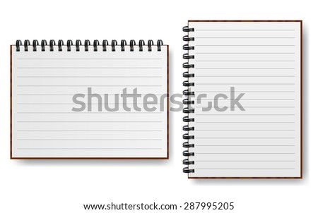 Notebook with spiral line realistic paper  illustration