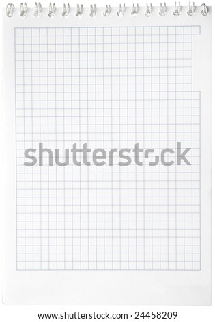 Notebook with square paper, binder and empty page for your design or text isolated on white background.