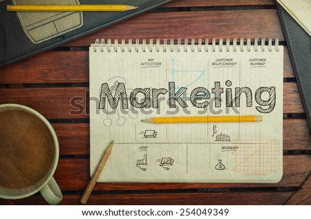 Notebook with text inside Marketing on table with coffee, notebook and pencils, retro filter - stock photo