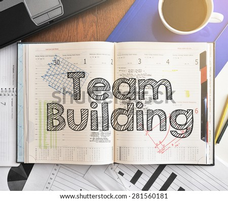 Notebook Text Inside Team Building On Stock Photo Royalty Free
