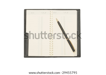 Notebook with the handle on a white background