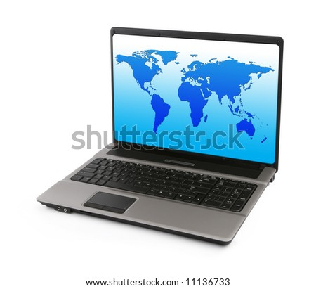 notebook with world map on white, gentle natural shadow in front, graphic inside is m y property - stock photo