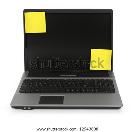 notebook with yellow notes on white, minimal natural shadow in front - stock photo