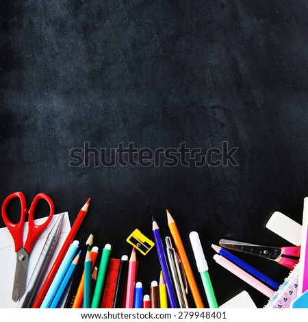 notebooks and other  school supplies  - stock photo