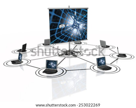 Notebooks and presentation screen on the white. - stock photo