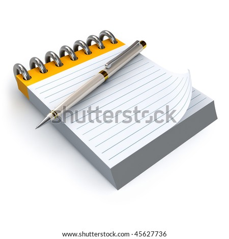 Notepad and pen HQ 3d render