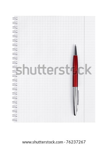 Notepad and pen on a white background - stock photo