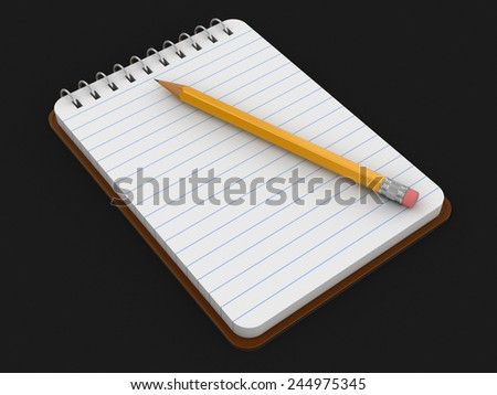 Notepad and Pencil (clipping path included) - stock photo