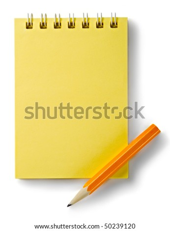 Notepad and pencil isolated on the white background