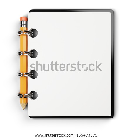 notepad and pencil isolated on white background. 3d rendered image - stock photo