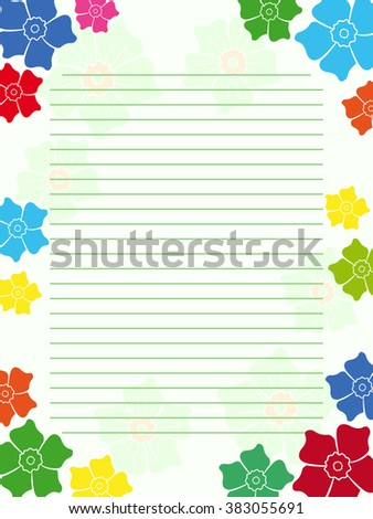 Notepad blank empty in light green hues with parallel lines and multicolour floral frame with flowers, illustration - stock photo