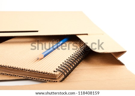 Notepad, blue pencil and paper folder