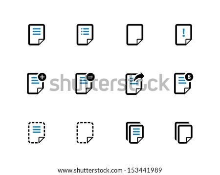 Notepad Document file and Note duotone icons. See also vector version. - stock photo