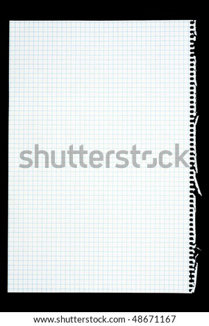 Notepad page isolated on black - stock photo