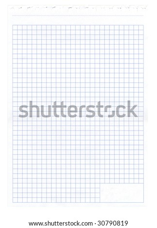 Notepad paper lined in cells
