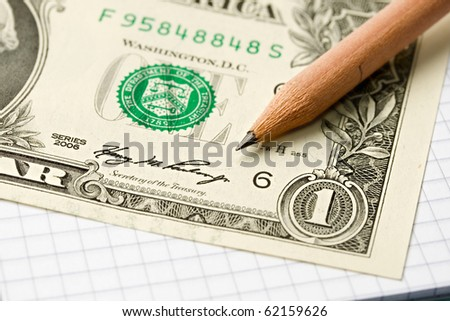 Notepad, pencil, dollar isolated on white - stock photo