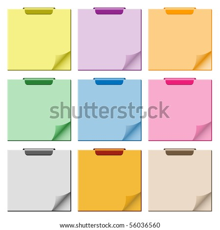 Notepad set in assorted colors with page curled up, clip at top of pad and ample copy space for text. Vector also available. - stock photo