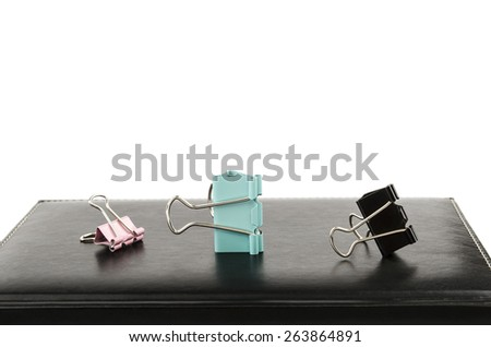 notepad with clothespins - stock photo