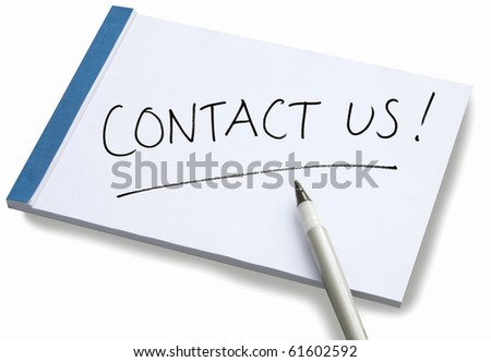 Notepad with handwritten Contact Us on a white sheet of paper with blue binding and a pen lying on the paper. - stock photo
