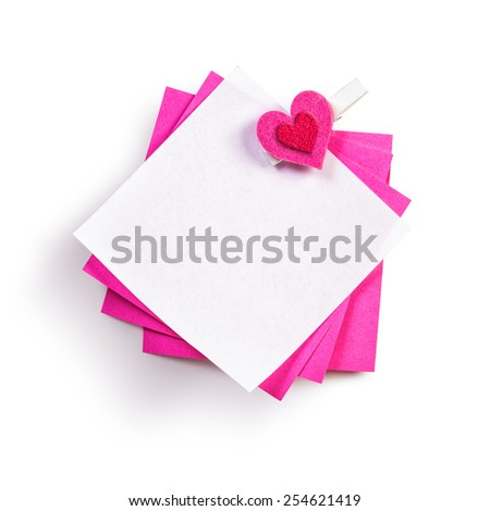 Notepad with heart isolated on white background. Bulletin board. Valentine theme. Object with clipping path - stock photo