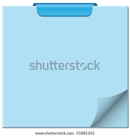 Notepad with page curled up, clip at top of pad and ample copy space for text. Vector also available. - stock photo