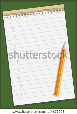 Notepad with pencil illustration