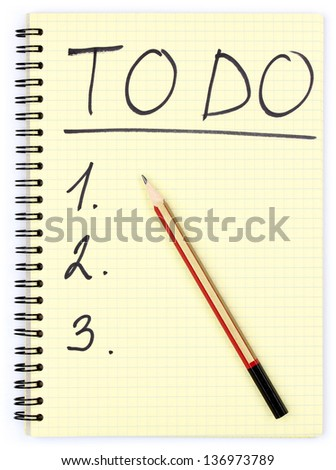 Notepad with to do plan