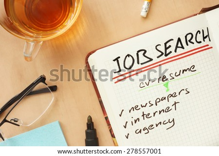 Notepad with words job search concept  - stock photo